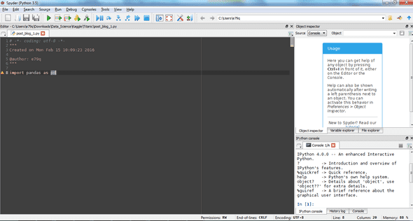 Spyder IDE working