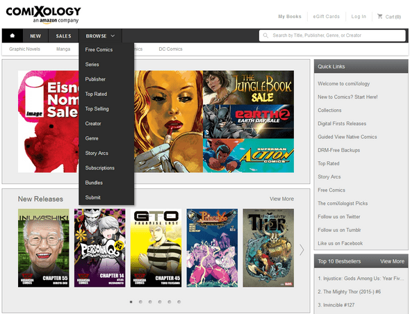 Comixology  website - Browse Menu